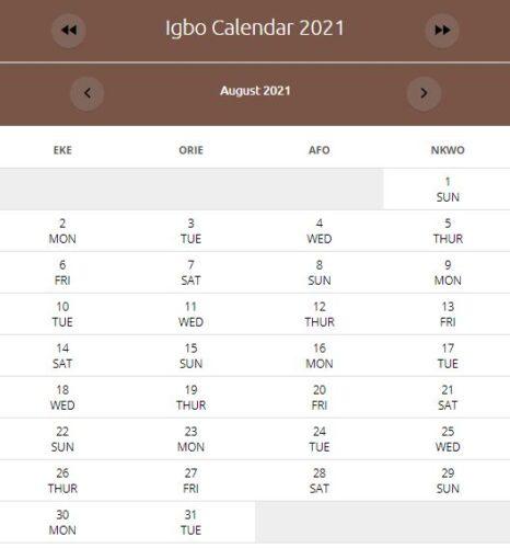 IGBO Calendar August 2021