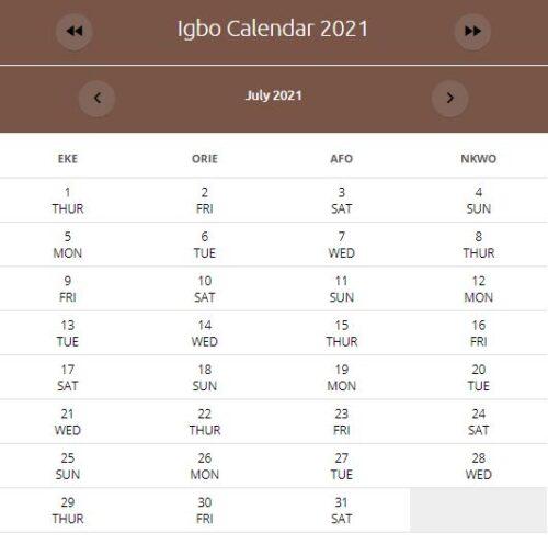 IGBO Calendar July 2021