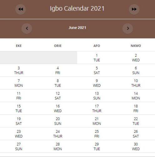 IGBO Calendar June 201