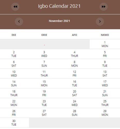 IGBO Calendar November 2021