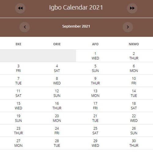 IGBO Calendar September 2021