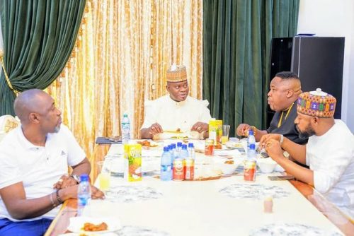 Cubana Chief Priest and Gov. Yahaya Bello Eating Together !!!